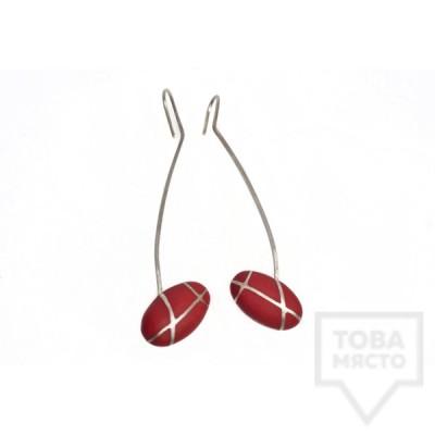 Дълги сребърни обеци Polina Dimitrova-red geometry