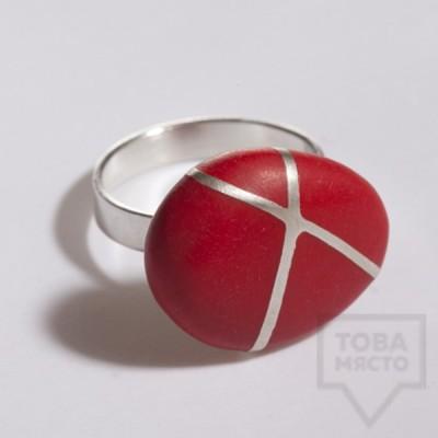 Сребърен пръстен Polina Dimitrova - stone geometry red