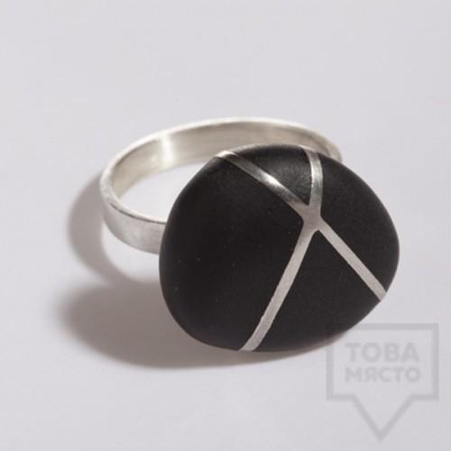 Сребърен пръстен Polina Dimitrova - stone geometry black