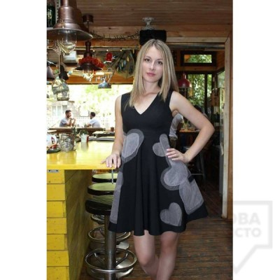 Дизайнерска рокля Polina Petrova - pink hearts