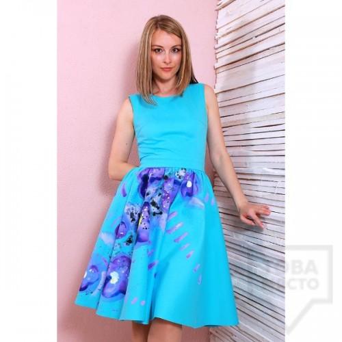 Дизайнерска ръчно-рисувана рокля Polina Petrova - abstract flowers
