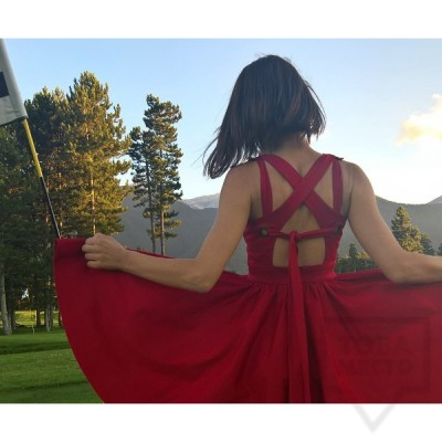 Дизайнерска рокля Polina Petrova - criss cross back Red
