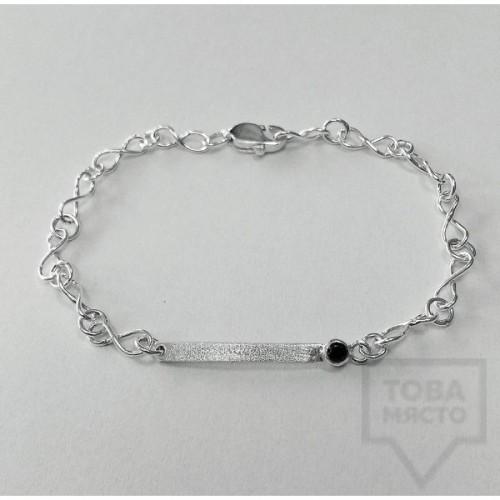 Сребърна гривна Silvera - Черен циркон