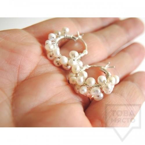 Обеци Songe - бели перли