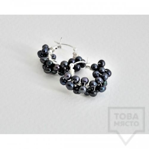 Сребърни обеци Songe Jewerly - малка синя перла