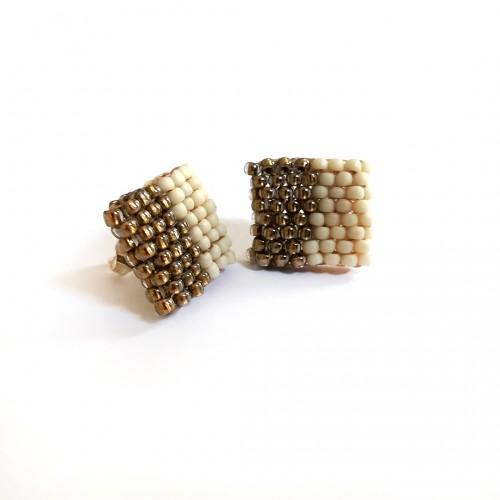 Ръчно изработени обеци - Свраките mini квадрат