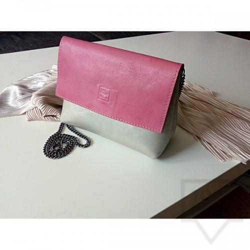 Дизайнерска дамска чанта от естествена кожа Три Точки - pearl pink
