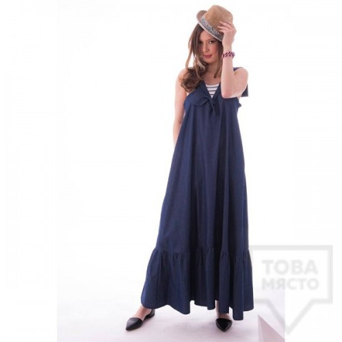 Дизайнерска дълга рокля VIVASTELLA - круиз деним