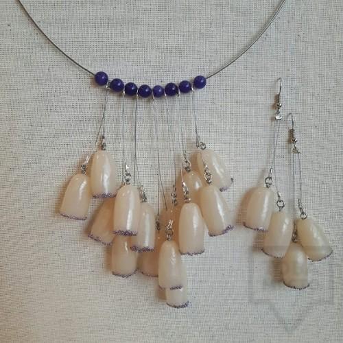 Колие ръчна изработка VelvetLeaves - clay bells purple