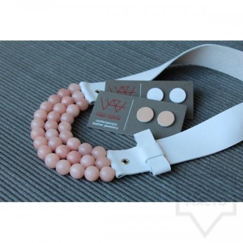 Ръчно изработено колие Vyara Tzeneva Jewellery - triple white pink