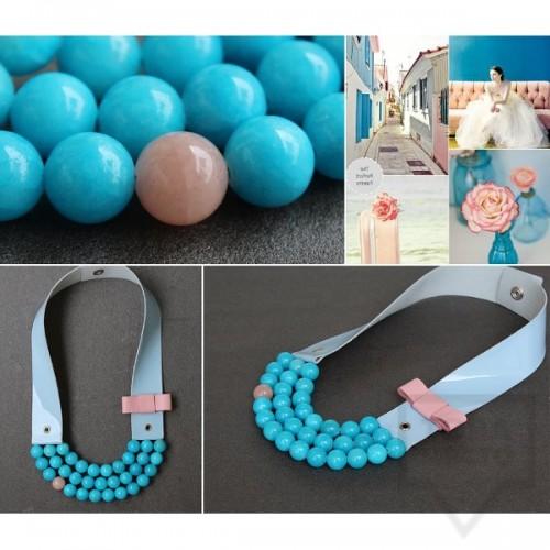 Ръчно изработено колие  Vyara Tzeneva Jewellery- tripple milk blue