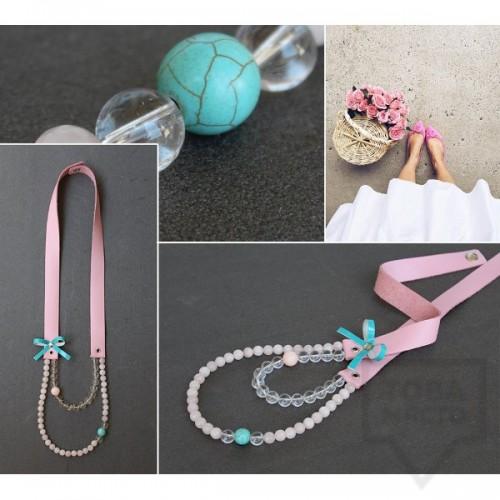 Ръчно изработено колие Vyara Tzeneva Jewellery - double pink blue