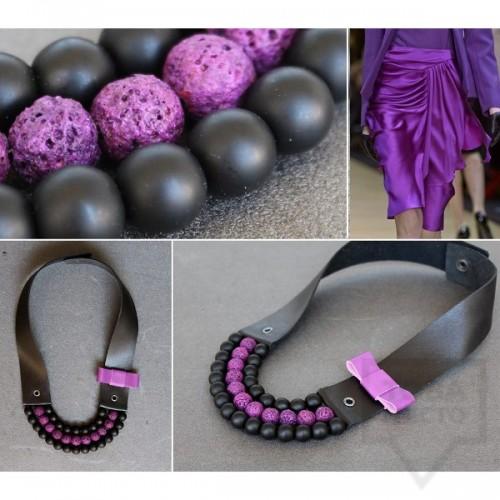 Ръчно изработено колие Vyara Tzeneva Jewellery - triple black purple
