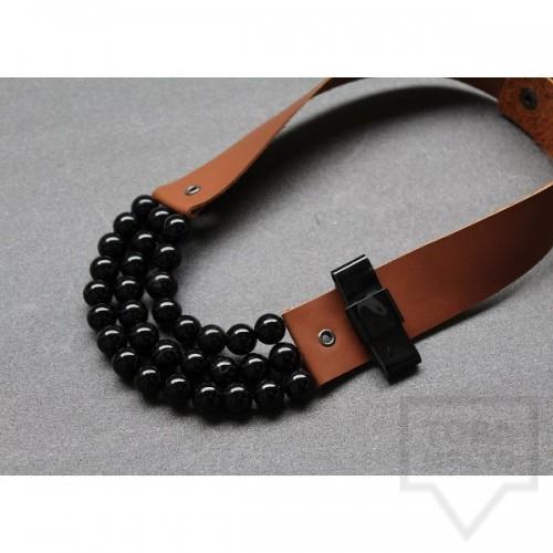 Ръчно изработено колие Vyara Tzeneva Jewellery - triple brown black