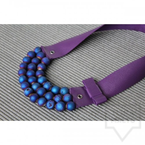Ръчно изработено колие Vyara Tzeneva Jewellery - triple deep purple