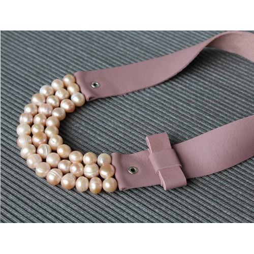 Ръчно изработено колие Vyara Tzeneva Jewellery - triple pink pearls
