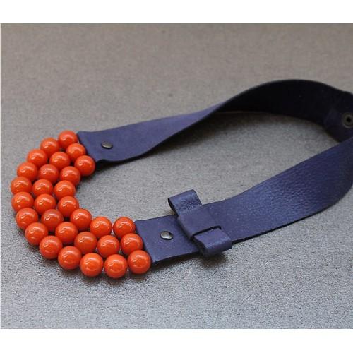 Ръчно изработено колие Vyara Tzeneva Jewellery - triple deep blue orange