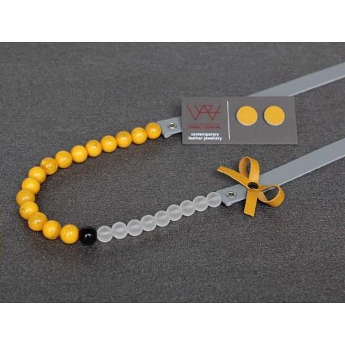 Ръчно изработено колие Vyara Tzeneva Jewellery - single grey yellow