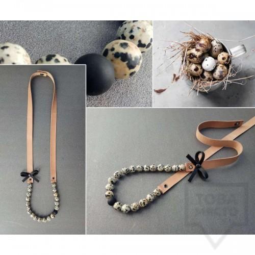 Ръчно изработено колие Vyara Tzeneva Jewellery - single pink grey