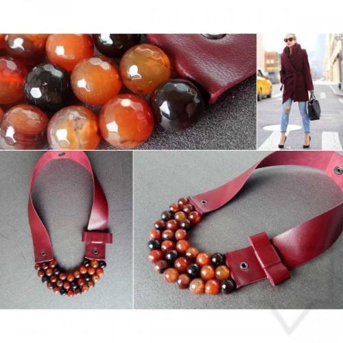 Ръчно изработено колие Vyara Tzeneva Jewellery - tripple burgundy