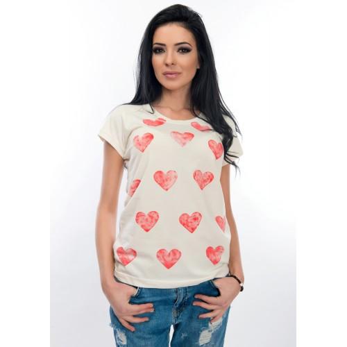Дамска тениска - WhiteBerry със сърца