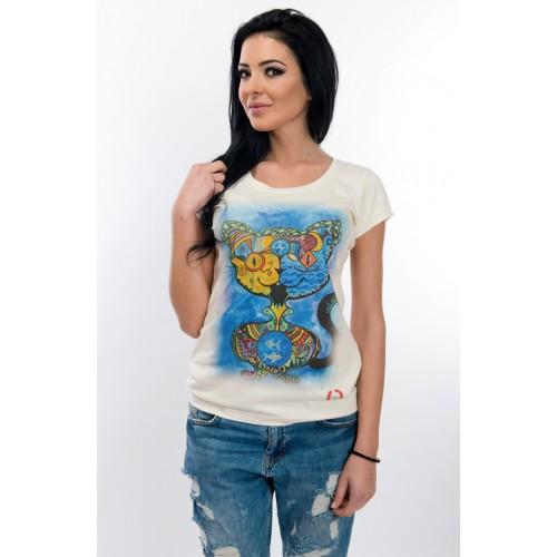 Дамска тениска - WhiteBerry cat run
