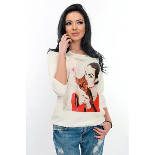 Дамска тениска - WhiteBerry lady with cat