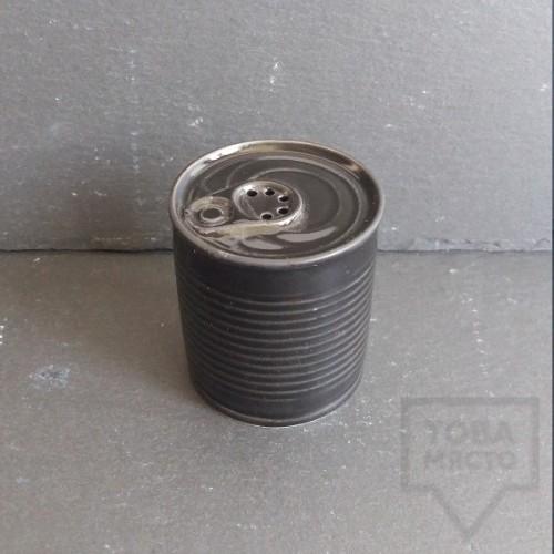Ръчно изработена порцеланова солница - консерва - Korchev Design Studio - black