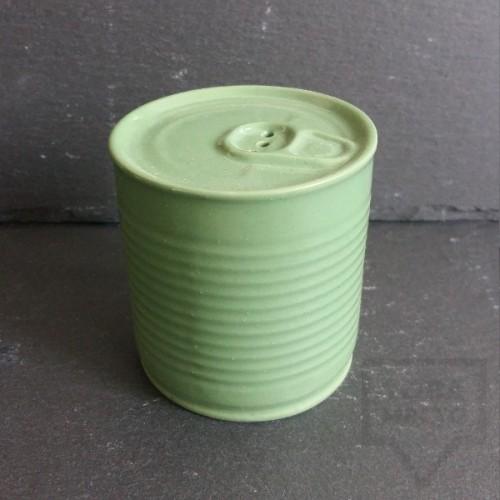 Ръчно изработена порцеланова солница - консерва - Korchev Design Studio - light green
