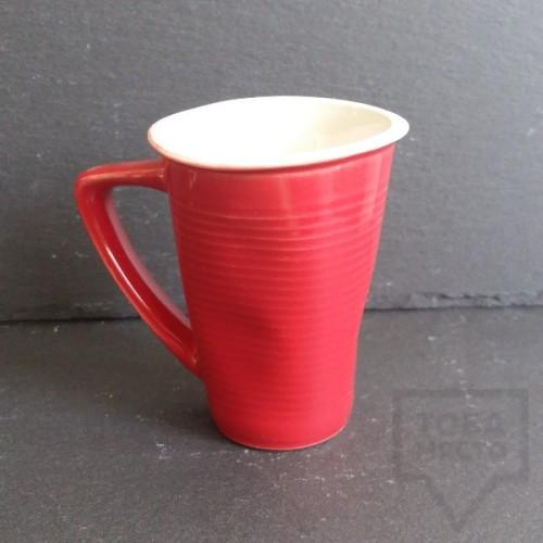 Ръчно изработена порцеланова чаша Korchev Design Studio - big red geometric can