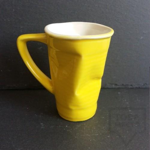 Ръчно изработена порцеланова чаша Korchev Design Studio - big yellow geometric can