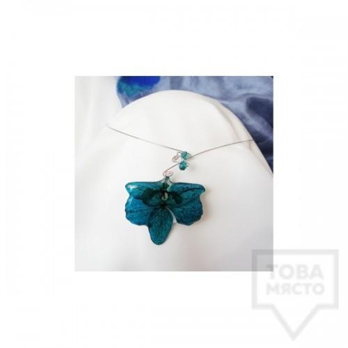 Дизайнерско колие MeganFlo - Орхидея тюркоаз