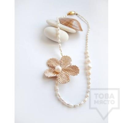 Дизайнерско колие Songe - естествени перли
