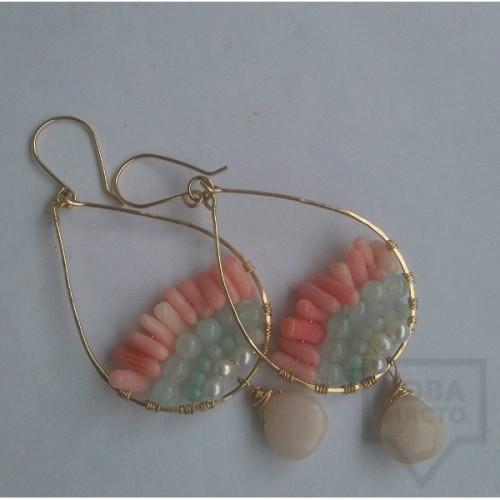 Обеци Songe - перли, лунен камък