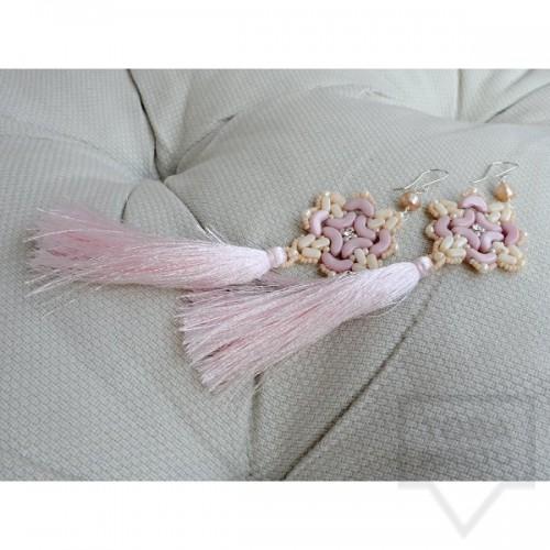 Обеци Songe - розови перли