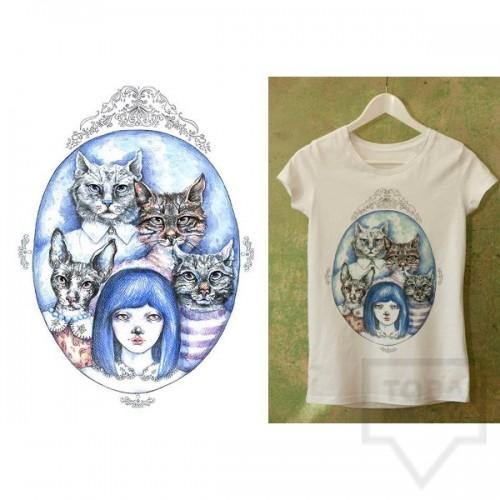 Ръчно рисувана тениска Dreams in Drawings - The Cat Family
