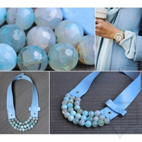 Ръчно изработено колие  Vyara Tzeneva Jewellery- tripple light blue